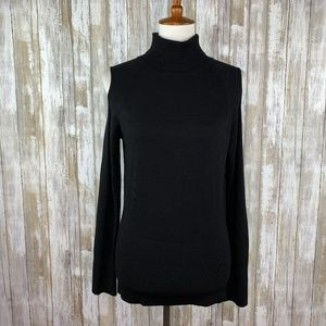Cache Black Cold Shoulder Turtleneck Sweater Sz L